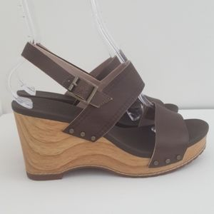 Timberland Earthkeepers Olive Leather Wedge Sandal